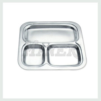 Compartment Tray, Square Compartment Tray, Stainless Steel Square Compartment Tray, Mess Tray, Stainless Steel Mess Tray
